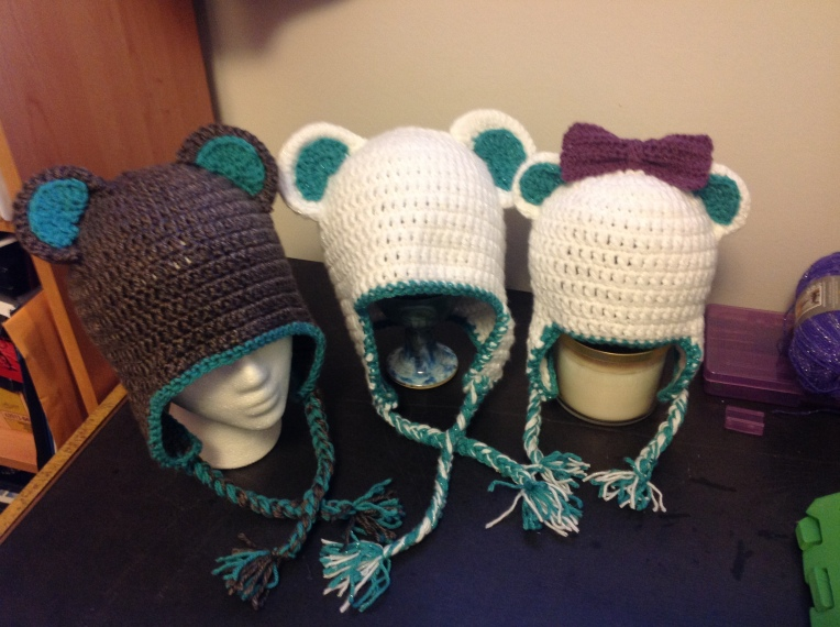 Papa, Mama, Baby Bear Hats