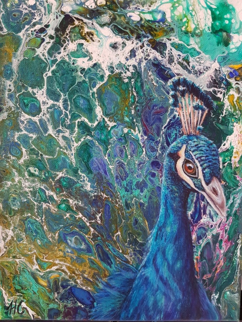 Peacock on Acrylic Pour