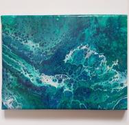 """Ocean Acrylic Pour. 5""""x7"""", $35"""